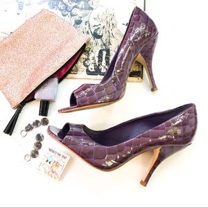 BCBGirls Purple Croc Patent Leather Peep Toe Heels